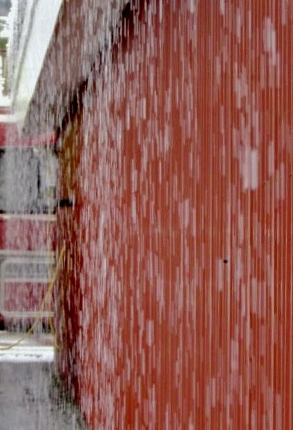Cascading rain gets your feet wet!